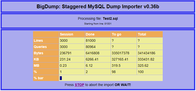 BigDump Import
